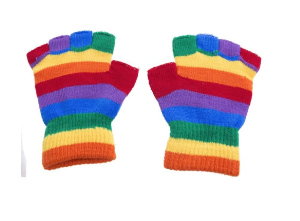 Fingerless Vanter Regnbuefarger One Size
