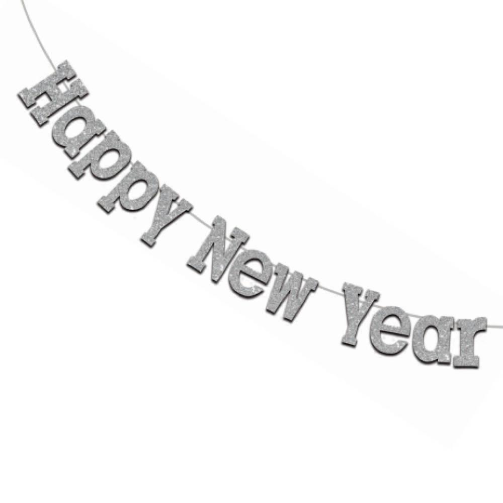 Happy New Year Girlang Sølv Stor 3,5 meter