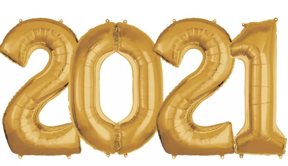 2021 Nyttårspakke! Store Tallballonger - 4 st