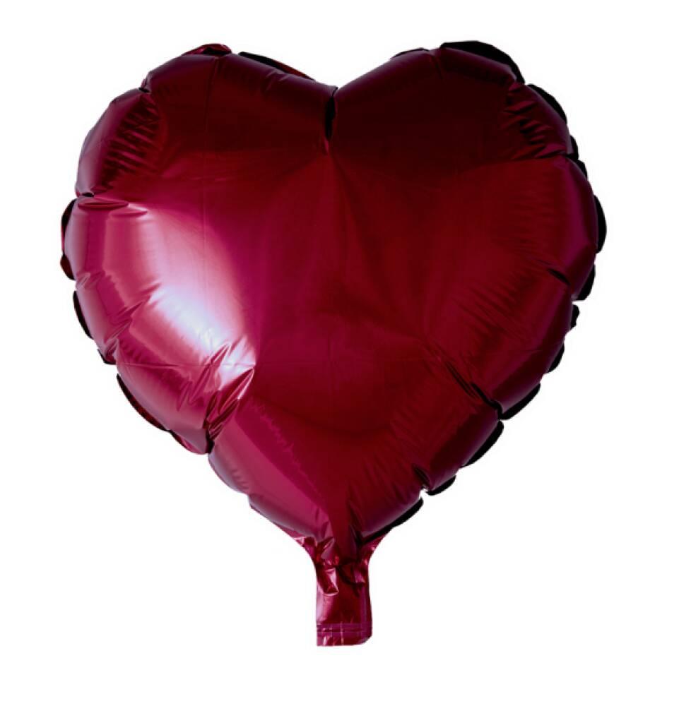 Folieballong Hjerte Burgundy