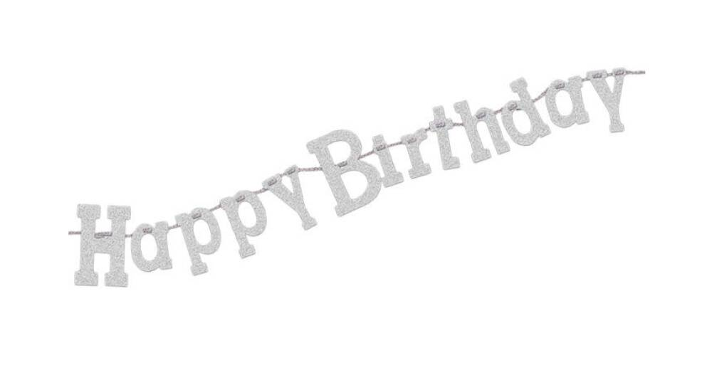 Banner Happy Birthday Silver Glitter
