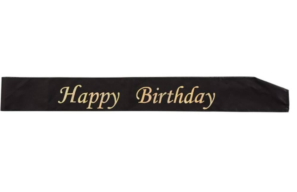 Ordensbånd Happy Birthday Svart & Gull