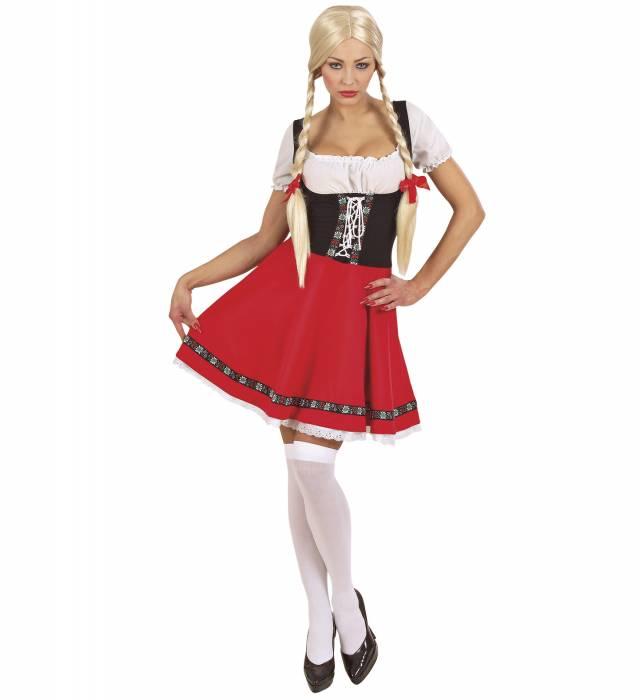 Bavarian HEIDI Oktoberfestkjole RØD