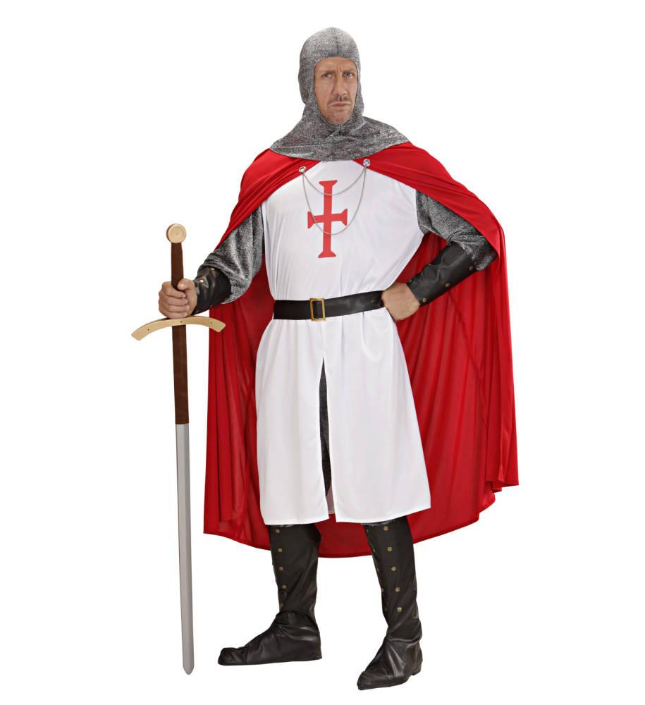 Crusader Deluxe Kostyme Hvit Rød