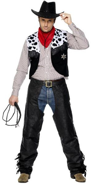 Anbefales! Cowboy Svart Suede Kostyme