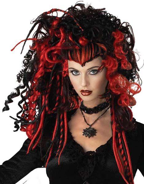 Black Widow Rød/Svart Parykk