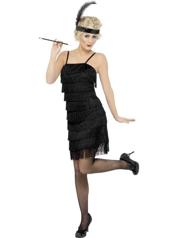 1920`s Flapper Dress Svart