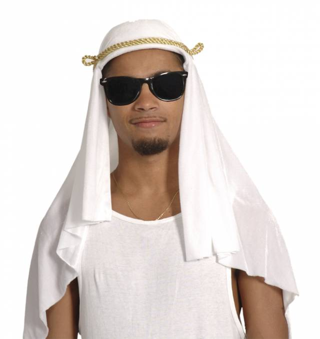 Arabisk Sheik Hatt Hvit med Gullbånd