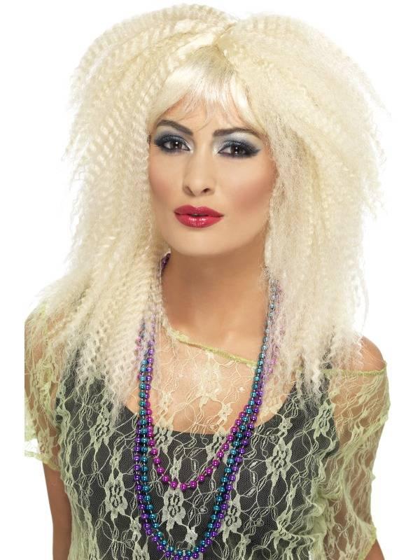 1980`s Crimp Kreppet Blond Parykk