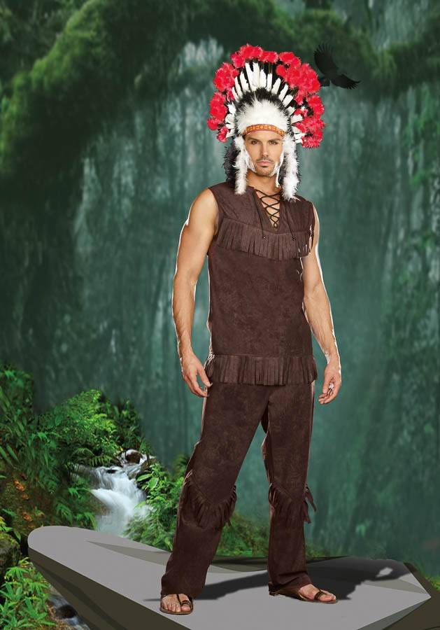 Chief Long Arrow Indianer kostyme herre