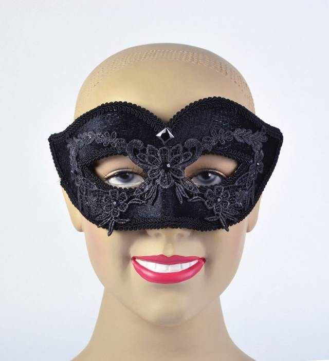 Black Floral Design Velvet Mask Unisex