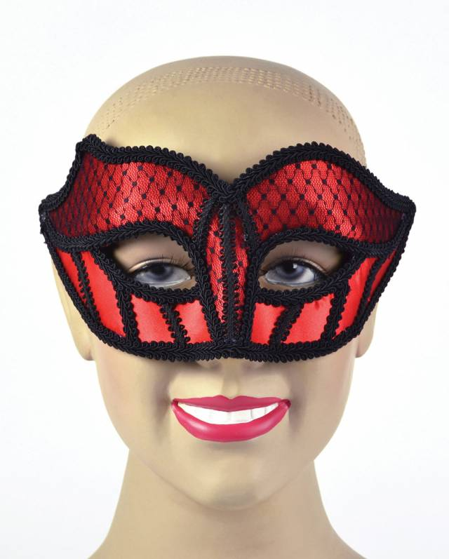 Black & Red Lace Brokademaske Unisex