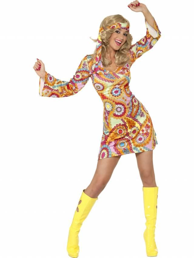 1960`s Hippie Costume Multicolored Sexy Dame