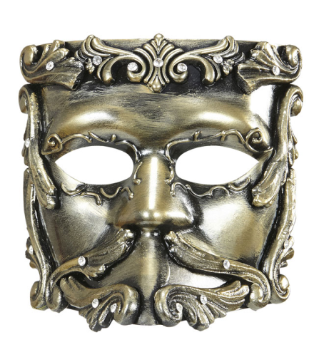 DELUXE BRONZE BAROQUE CASANOVA MASK WITH STRASS