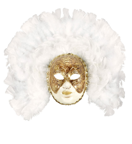 DELUXE FIDELIO MASK WITH WHITE FEATHERS