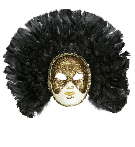 DELUXE FIDELIO MASK WITH BLACK FEATHERS
