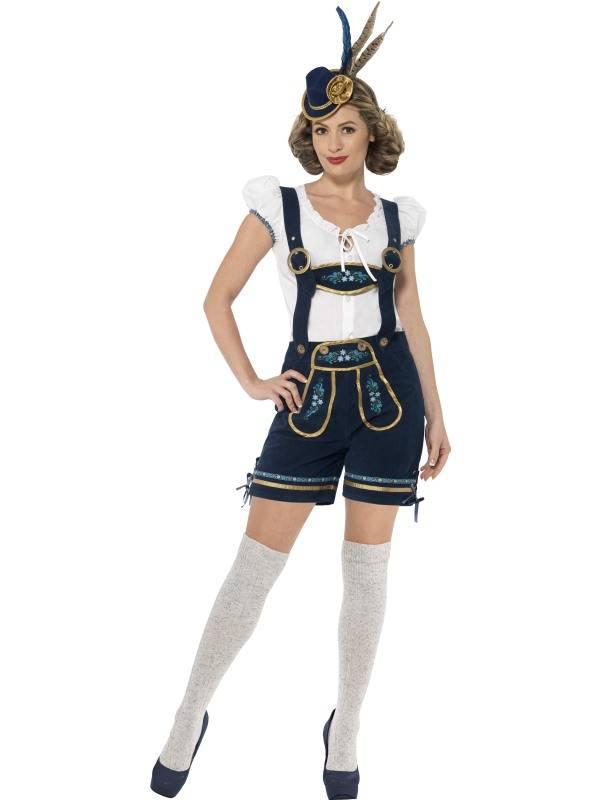 Blå Traditional Deluxe Oktoberfest Dameshorts