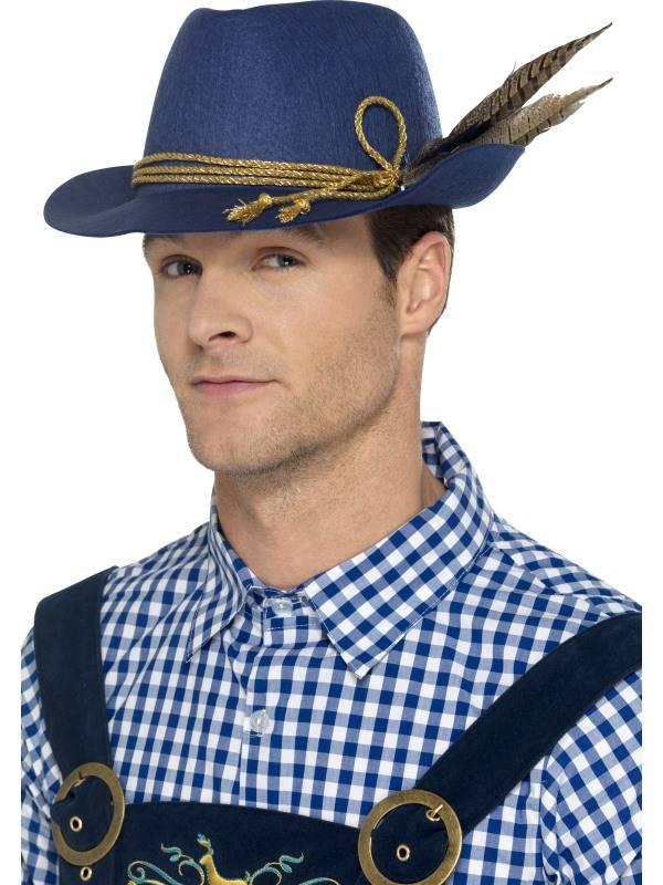 Authentic Bavarian Oktoberfest Hatt Blå med Fjær
