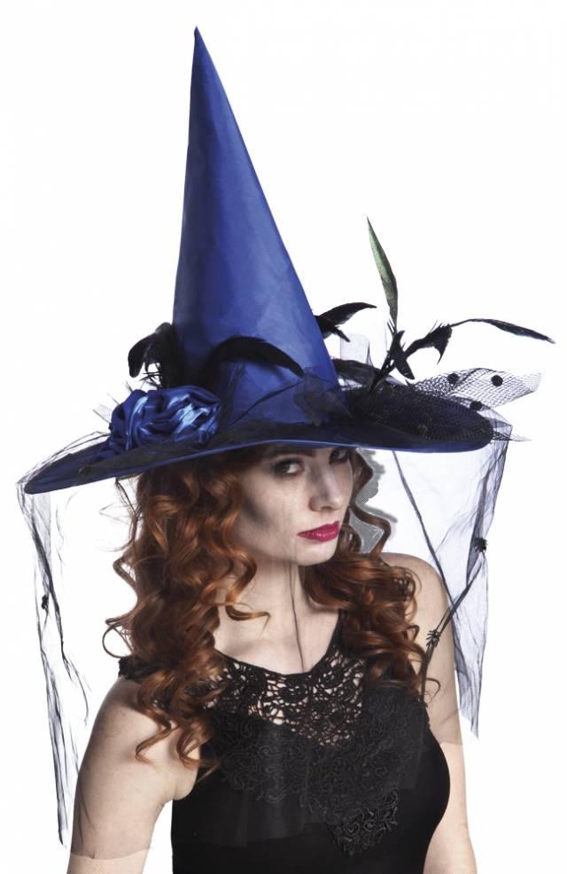 Heksehatt Blå med svarte fjør og slør