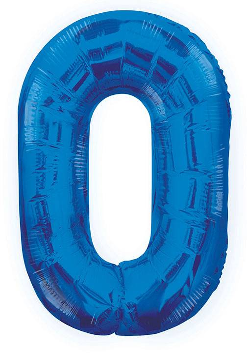 0 Blå Nummer Ballong 86 cm