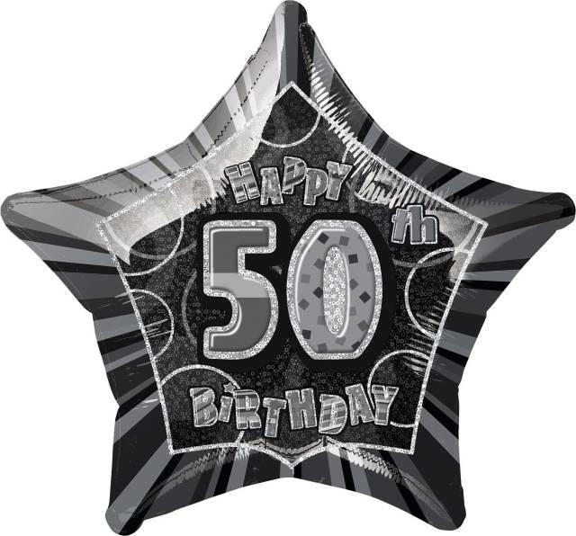 Folieballong Black Star 50 ÅR
