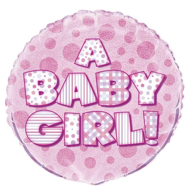 Folieballong A BABY GIRL Prismatic