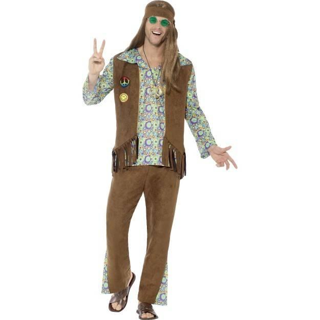 1960`s Hippie Kostyme Herre Multicolored Deluxe