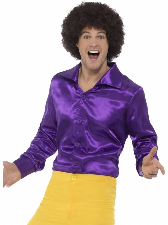 1960`s Satinskjorte Purple