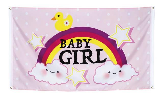 Babyshower Flagg Lys Rosa