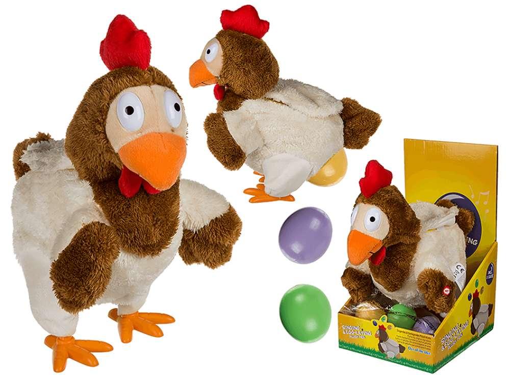 Høne, som synger og legger egg