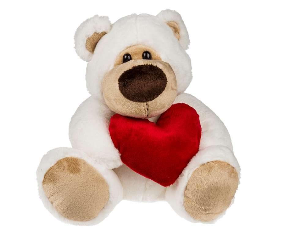 Plush Bamse med Hjerte, Stor